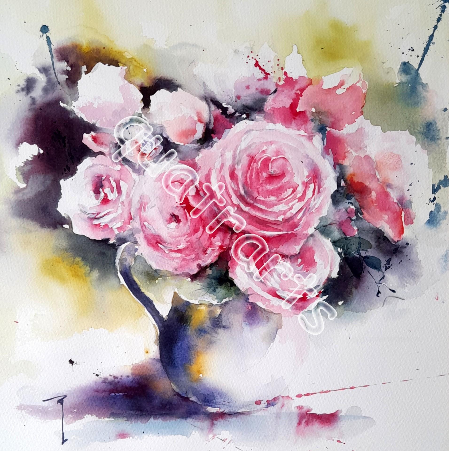 Bouquet rose- 40x40 cm- Décembre 2020