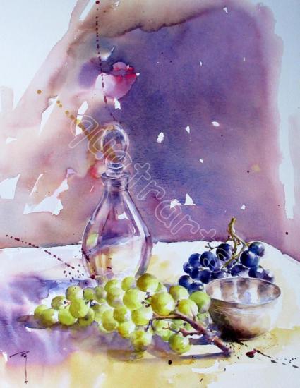 Composition carafe et raisins- 40x50cm- Décembre 2017
