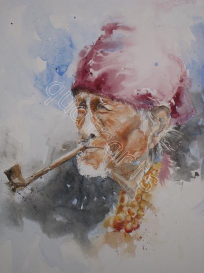 Homme birman à la pipe