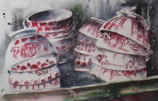 Les bols anciens-180 euros (sans le cadre)- 30 x 47 cm - août 2011