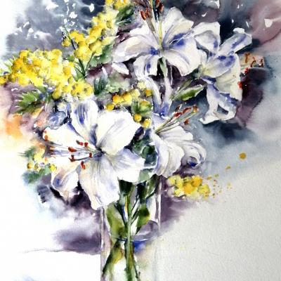 Les lys blancs- 40x60cm- Octobre 2020