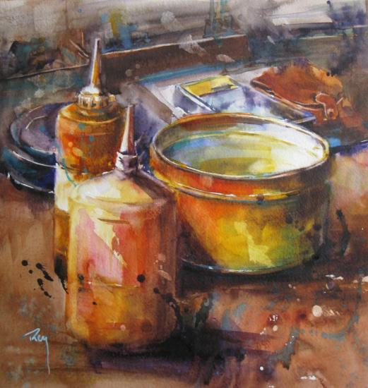 L'huile S... - 24 x 24 cm- Juin 2012