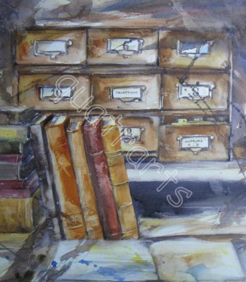 Chez le bouquiniste- 50 x 50 cm encadré (prix sur demande)- avril 2013