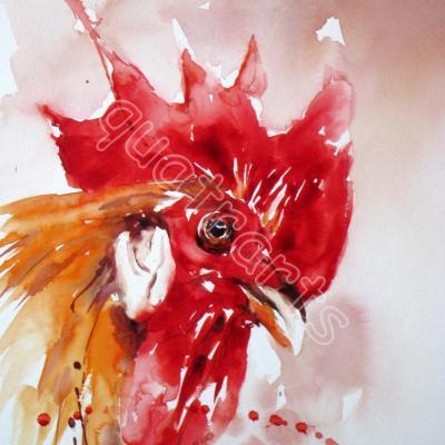 Le fier! aquarelle réalisée en démo- avril 2014-VENDU