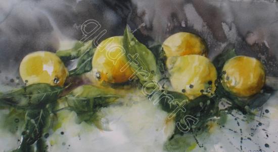 Les citrons- 200 euros (+40 euros d'encadrement)- 22 x 42 cm