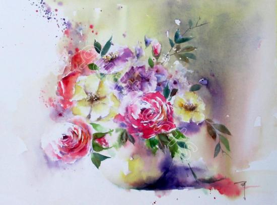 Sonate fleurie n°1- 40x50cm- Décembre 2017