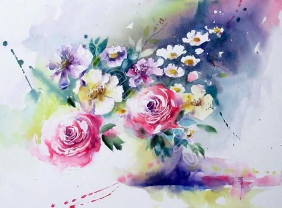 Sonate fleurie n°2- 40x50cm- Décembre 2017-VENDU